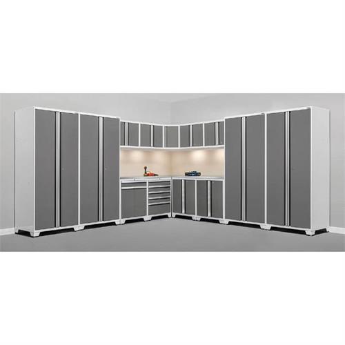 NewAge Pro Series 3.0 White w/Platinum Door 16 Piece Corner Set w/Stainless Steel Top