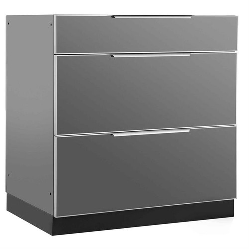 "NewAge Aluminum Slate 32""W x 23""D 3-Drawer Cabinet"