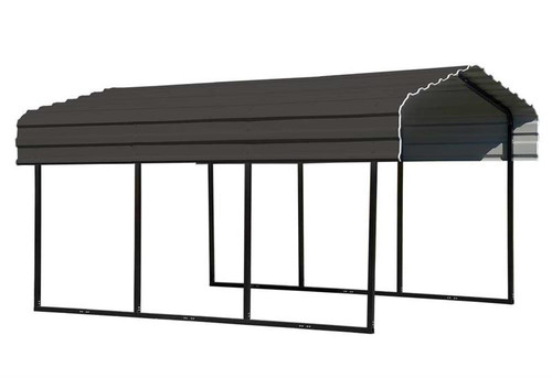 Arrow Steel Carport 10 x 15 x 7 ft. Galvanized Charcoal