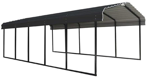 Arrow Steel Carport 12 x 29 x 7 ft. Galvanized Charcoal