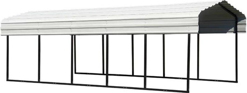 Arrow Steel Carport 10 x 24 x 7 ft. Galvanized Eggshell