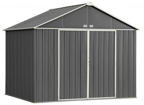 Arrow EZEE Shed Steel Storage 10 x 8 ft. Galvanized Extra High Gable Charcoal with Cream Trim