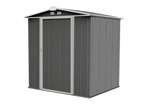 Arrow EZEE Shed Steel Storage 6 x 5 ft. Galvanized Low Gable Charcoal with Cream Trim