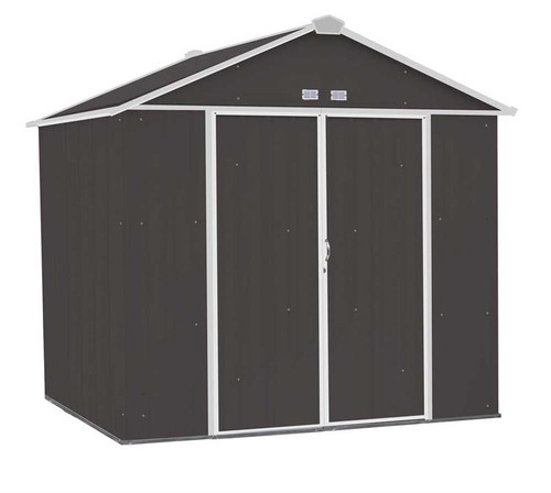 Arrow EZEE Shed Steel Storage 8 x 7 ft. Galvanized High Gable Charcoal with Cream Trim