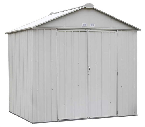 Arrow EZEE Shed Steel Storage 8 x 7 ft. Galvanized High Gable Cream