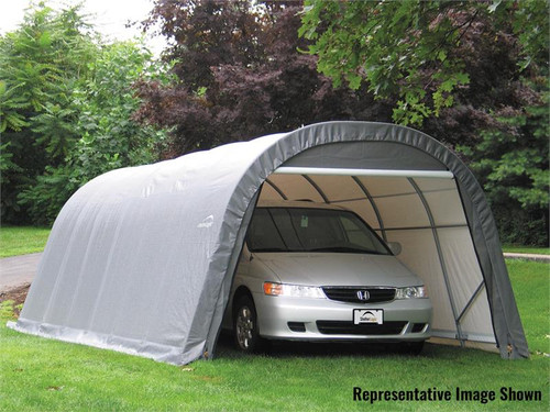 ShelterLogic ShelterCoat 13 x 28 x 10 ft. Wind/Snow Rated Garage Round Gray Cover