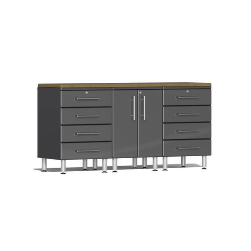 Ulti-MATE Garage 2.0 Series Grey Metallic 4-Piece Workstation Kit with Bamboo Worktop