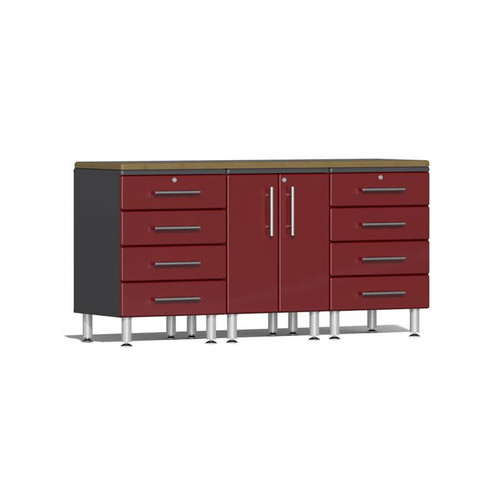 Ulti-MATE Garage 2.0 Series Red Metallic 4-Piece Workstation Kit with Bamboo Worktop