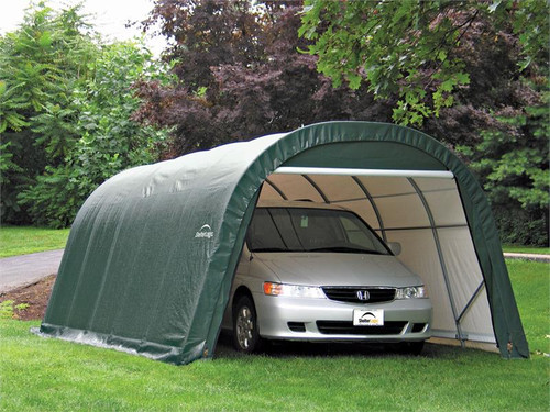 ShelterLogic ShelterCoat 12 x 20 x 8 ft. Wind/Snow Rated Garage Round Green Cover