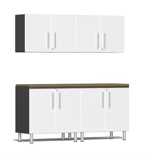 Ulti-MATE Garage 2.0 Series White Metallic 5-Piece Workstation Kit