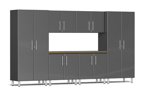 Ulti-MATE Garage 2.0 Series Grey Metallic 7-Piece Combo with Workstation