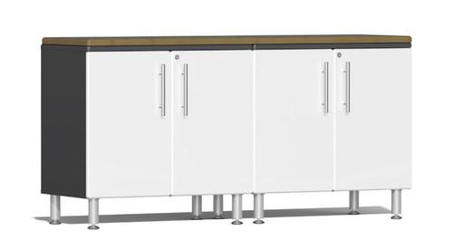 Ulti-MATE Garage 2.0 Series White Metallic 3-Piece Workstation Kit with Bamboo Top