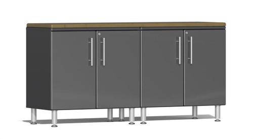 Ulti-MATE Garage 2.0 Series Grey Metallic 3-Piece Workstation Kit with Bamboo Top