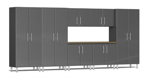 Ulti-MATE Garage 2.0 Series Grey Metallic 8-Piece Combo with Bamboo Worktop