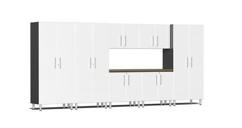 Ulti-MATE Garage 2.0 Series White Metallic 8-Piece Combo with Bamboo Worktop