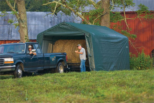 ShelterLogic ShelterCoat 12 x 24 x 8 ft. Garage Peak Green Cover