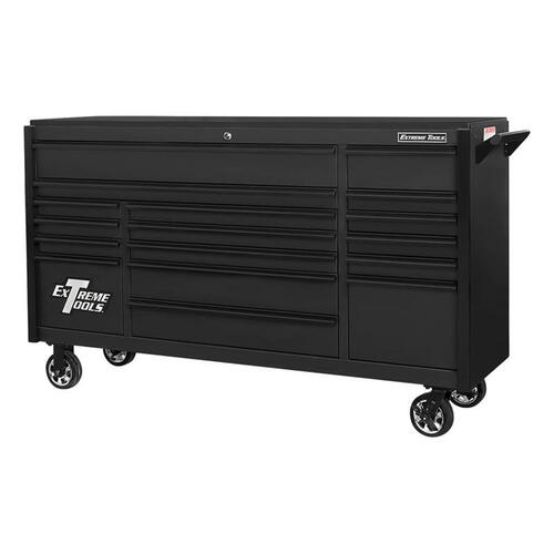 "Extreme Tools 72"" DX Series 17-Drawer Roller Cabinet - Matte Black w/Black Drawer Pulls"