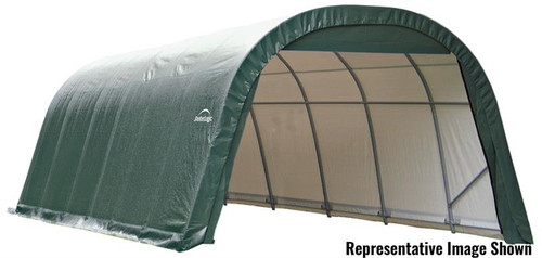 ShelterLogic ShelterCoat 12 x 28 x 8 ft. Wind/Snow Rated Garage Round Green Cover