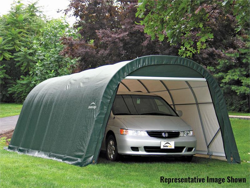 ShelterLogic ShelterCoat 13 x 28 x 10 ft. Wind/Snow Rated Garage Round Green Cover