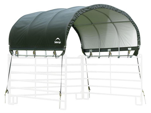 ShelterLogic Corral Shelter Livestock Shade 10 x 10 ft. Powder Coated Green
