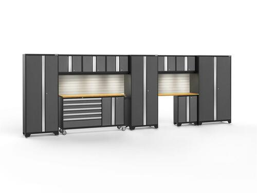 NewAge Bold 3.0 Grey 11 PC Set w/Bamboo Worktops, LED Lights & Backsplash