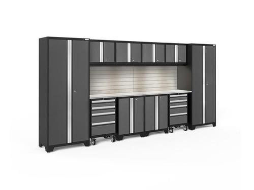NewAge Bold 3.0 Grey 12 Piece Set w/Stainless Steel Worktop, LED Lights & Backsplash