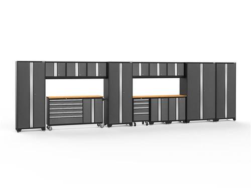 NewAge Bold 3.0 Grey 15 PC Set w/Bamboo Worktops & LED Lights