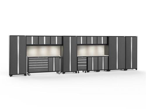 NewAge Bold 3.0 Grey 15 PC Set w/Stainless Steel Worktops, LED Lights & Backsplash