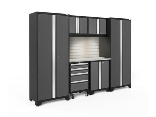 NewAge Bold 3.0 Grey 7 Piece Set w/Stainless Steel Worktop, LED Lights & Backsplash