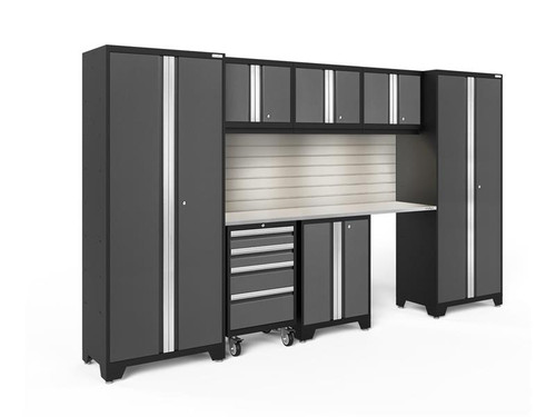 NewAge Bold 3.0 Grey 8 Piece Set w/Stainless Steel Worktop, LED Lights & Backsplash