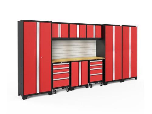 NewAge Bold 3.0 Red 10 Piece Set w/Bamboo Worktop, LED Lights & Backsplash