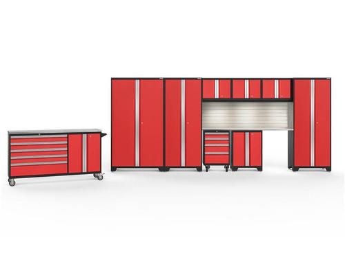 NewAge Bold 3.0 Red 10 PC Set w/Stainless Steel Worktops, LED Lights & Backsplash