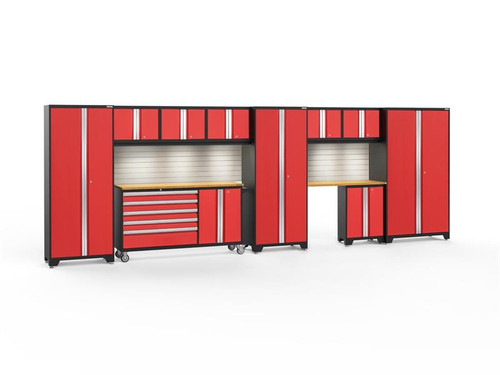 NewAge Bold 3.0 Red 11 PC Set w/Bamboo Worktops, LED Lights & Backsplash