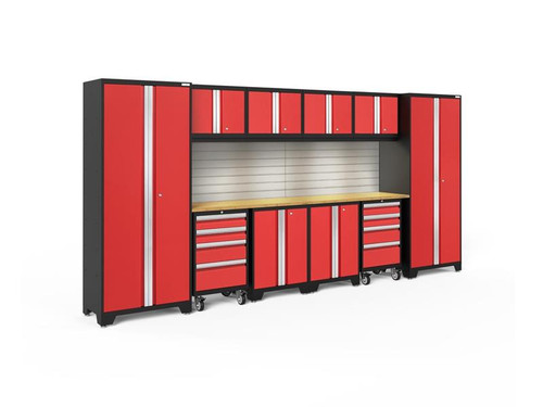 NewAge Bold 3.0 Red 12 Piece Set w/Bamboo Worktop, LED Lights & Backsplash