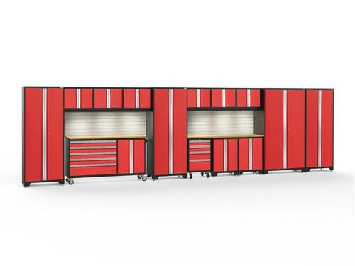 NewAge Bold 3.0 Red Series 15 PC Set w/Bamboo Worktops, LED Lights & Backsplash