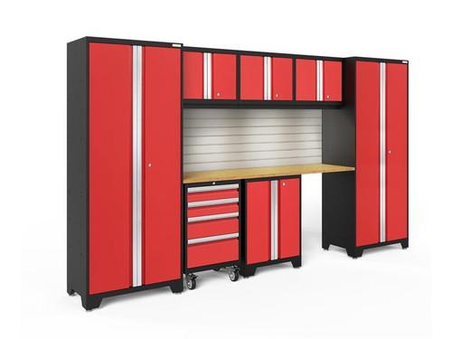 NewAge Bold 3.0 Red 8 Piece Set w/Bamboo Worktop,  LED Lights & Backsplash