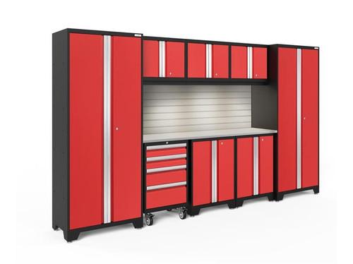 NewAge Bold 3.0 Red 9 Piece Set with Stainless Steel Worktop, LED Lights & Backsplash