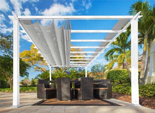 Paragon Outdoor Florence 11x16 White Aluminum Pergola/Silver Color Convertible Canopy