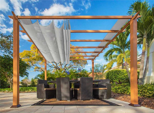 Paragon Outdoor Florence 11x11 Aluminum Pergola with Cedar Wood Grain Finish/Silver Color Convertible Canopy