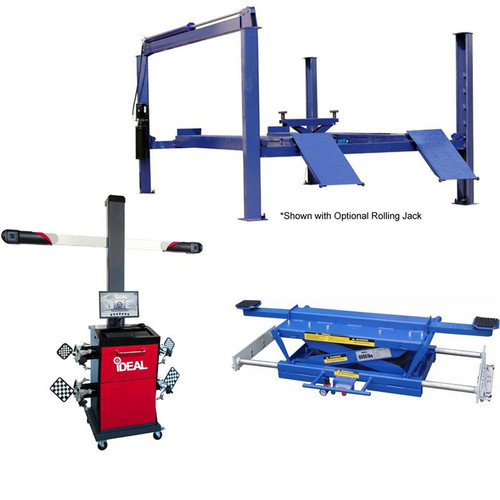 Tuxedo FP14KA 14,000 lb Chain Driven Alignment Lift, 3D Image Wheel Aligner, Rolling Air Jack Combo Package