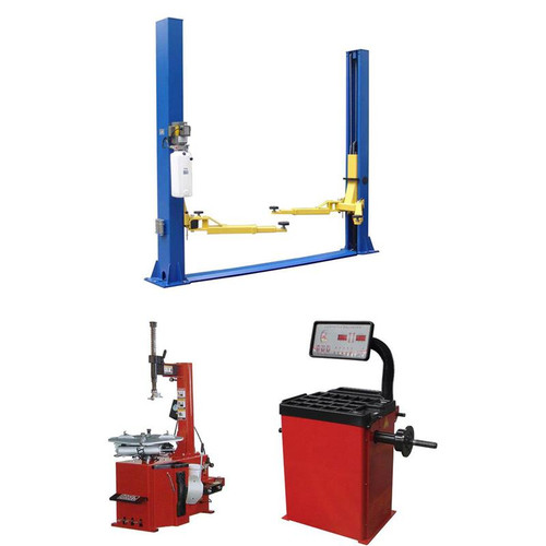 Tuxedo TP9KFX 9,000 lb 2 Post Lift, TC-530 Tire Changer, WB-953-B Wheel Balancer Combo Package