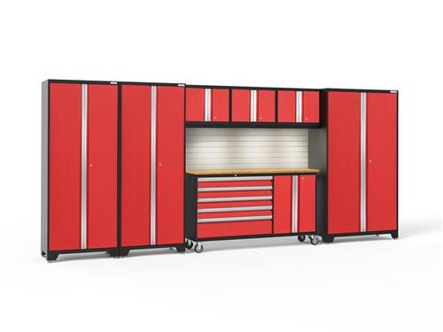 NewAge Bold 3.0 Red 7 PC Set w/Bamboo Worktop, LED Lights & Backsplash
