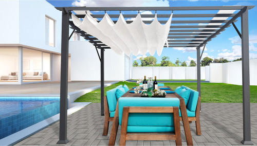 Paragon Outdoor Florence 11x11 Aluminum Pergola with Grey Frame/Off White Color Convertible Canopy