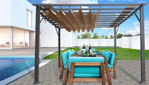 Paragon Outdoor Florence 11x16 Aluminum Pergola with Grey Frame/Cocoa Color Convertible Canopy
