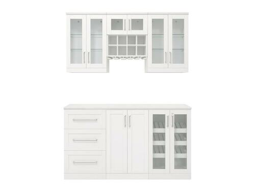 "NewAge Home Bar White 7 Piece Cabinet Set - 21"""