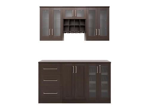 "NewAge Home Bar Espresso 7 Piece Cabinet Set - 21"""