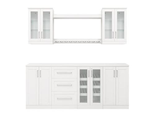 "NewAge Home Bar White 9 Piece Cabinet Set -21"""