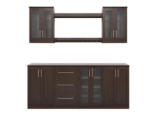 "NewAge Home Bar Espresso 9 Piece Cabinet Set -21"""