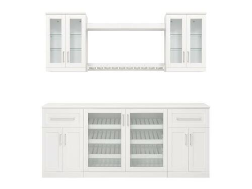 NewAge Home Bar White 8 Piece Cabinet Set - 21""