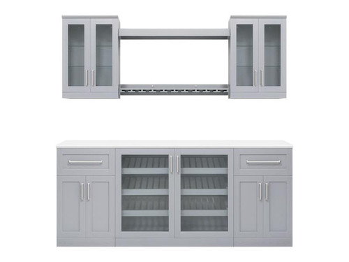 "NewAge Home Bar Grey 8 Piece Cabinet Set - 21"""